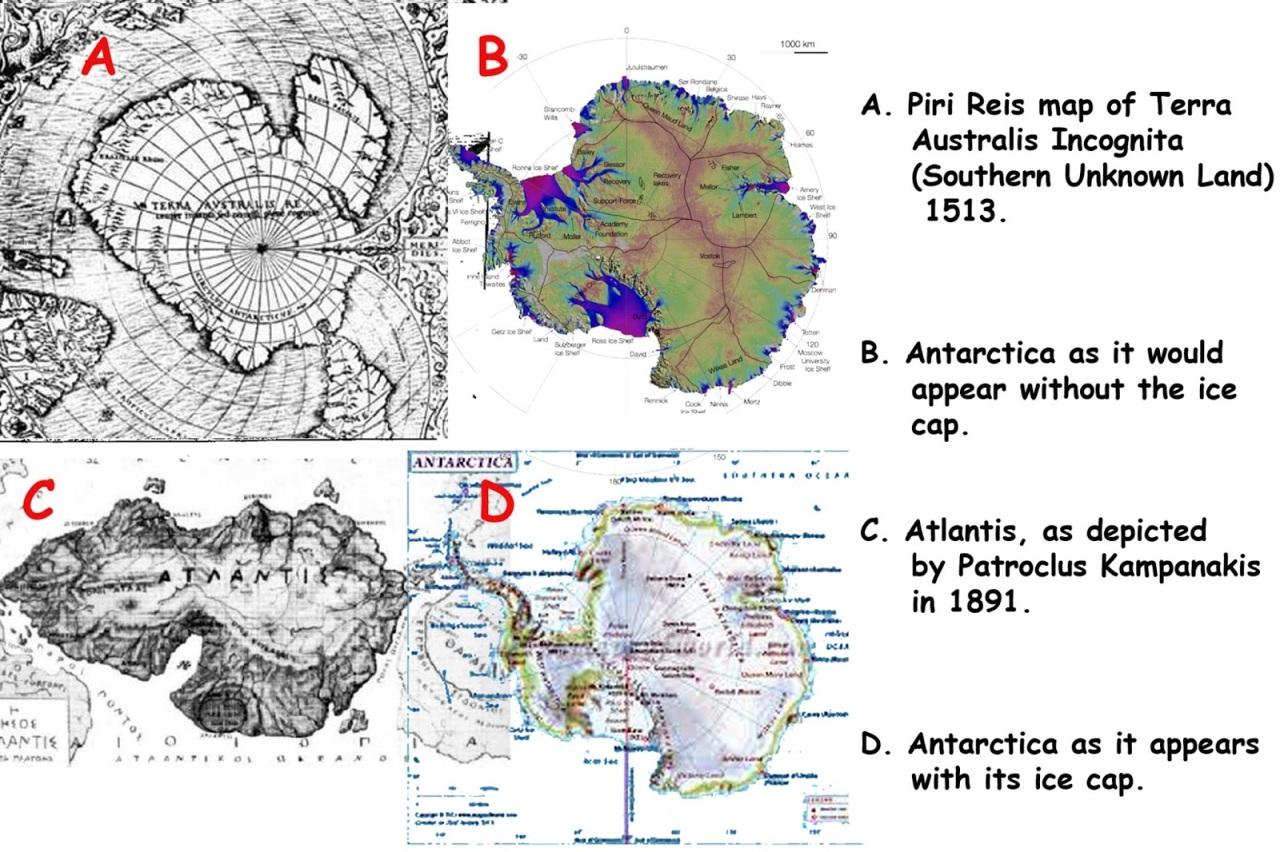 Atlantis and Antarctica wi Piri Reis map